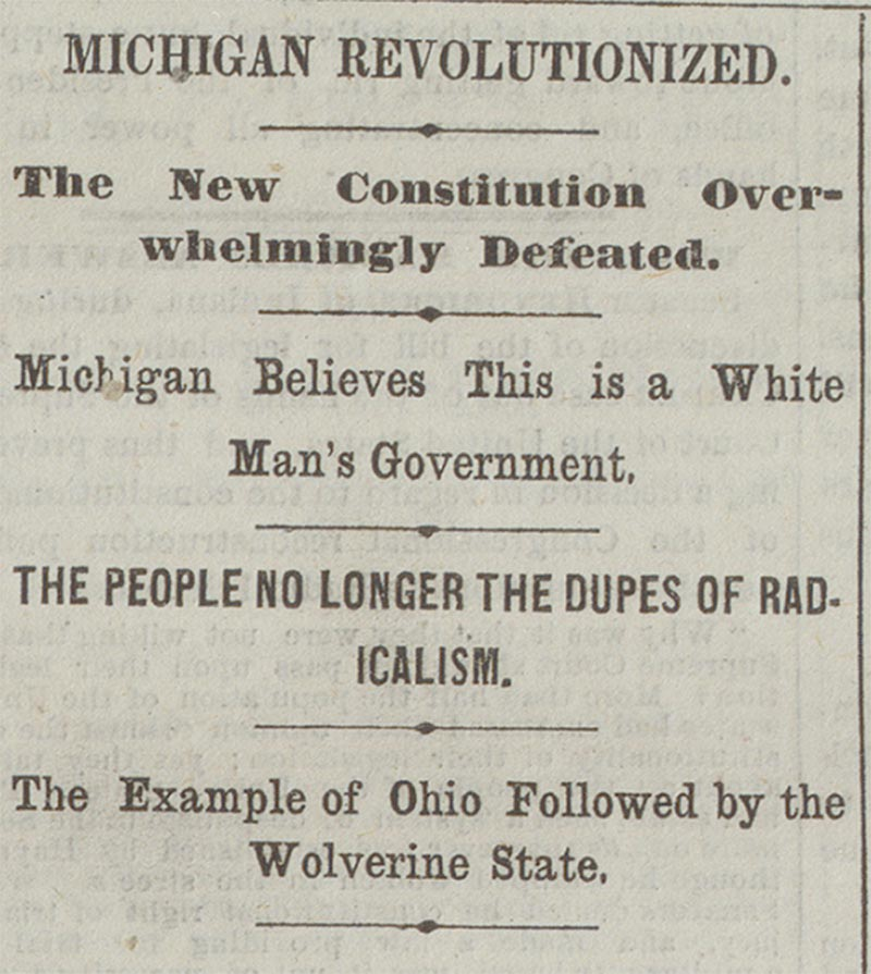 Resistance, Northern-style: The Detroit Free Press headlines, April 7, 1868, after the defeat of equal suffrage